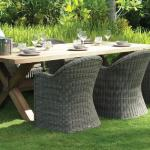 Macau dining armchairs with spider table (reclaimed teak)