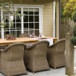 Macau dining armchairs with teak table
